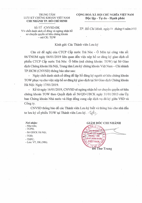 Công văn Chốt danh sách cổ đông và ngừng nhận hồ sơ chuyển quyền sở hữu Chứng khoán TOW của VSD